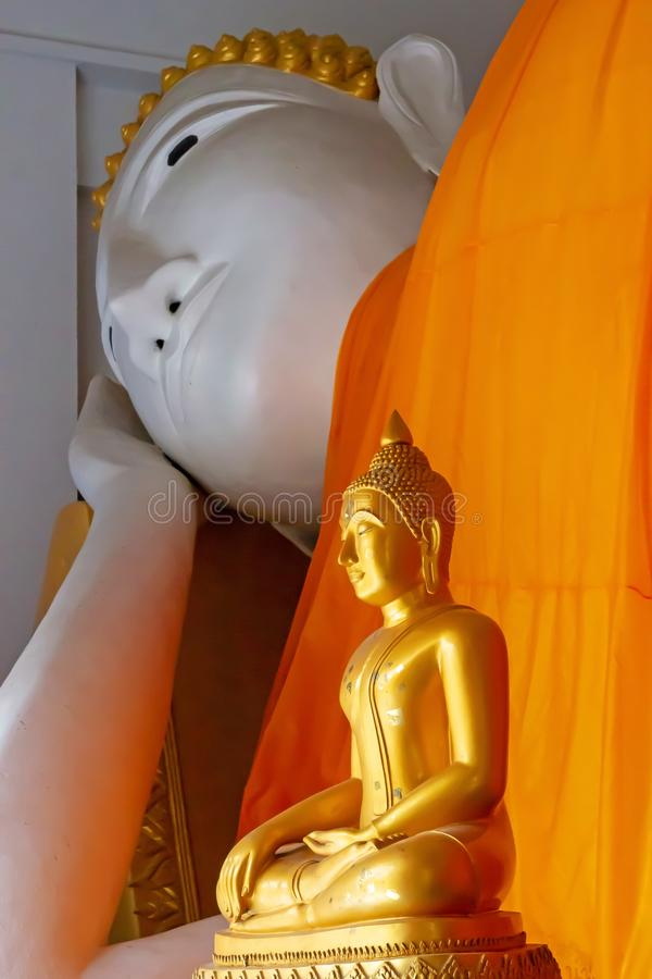 Two golden Buddha statue stock photography