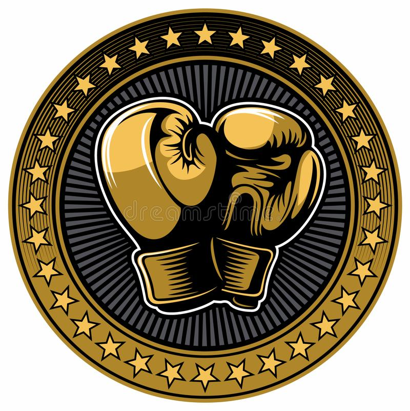Two golden color boxing gloves with golden stars on background. Boxing vector logo design elements. royalty free illustration