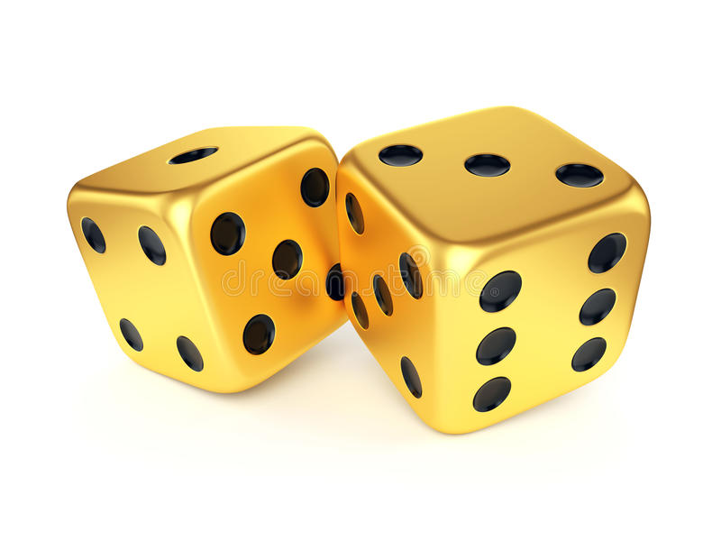 Download Two golden dices stock illustration. Illustration of casino - 41468015
