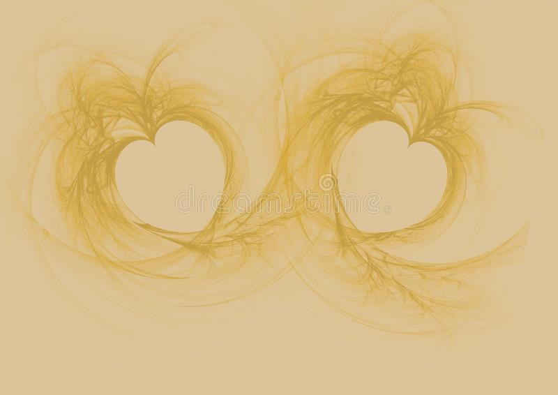 Two golden flame hearts. On golden background royalty free illustration