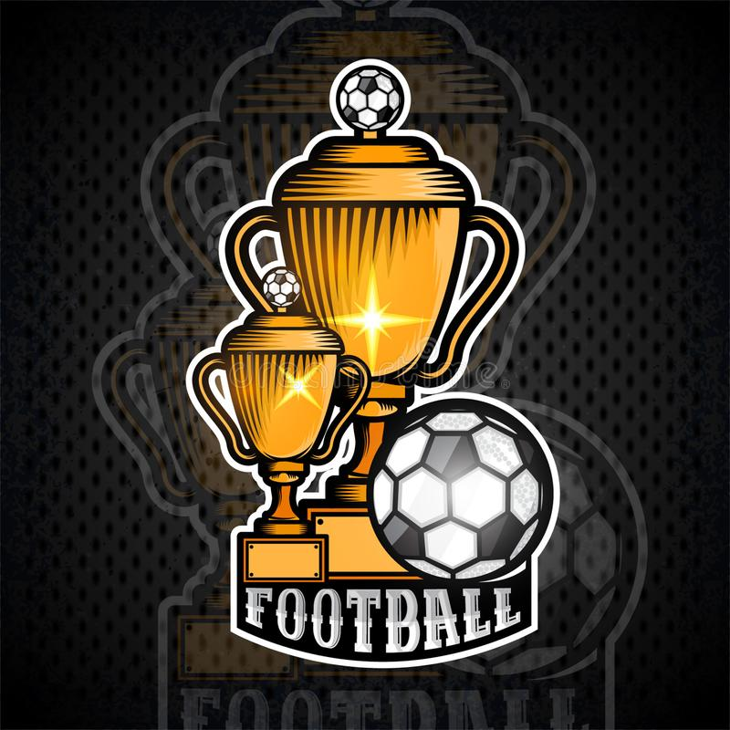 Two golden football cups with ball. Vector sport banner or emblem vector illustration
