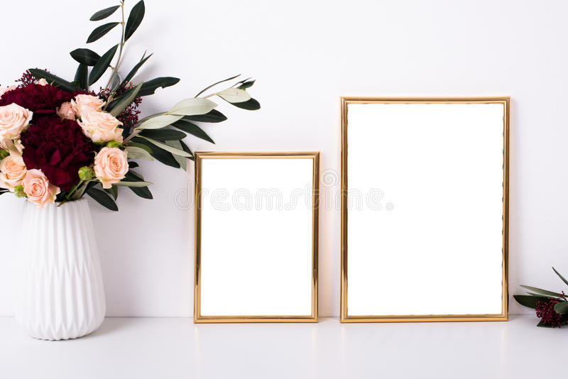 Download Two Golden Frames Mock Up Stock Image Of Decor