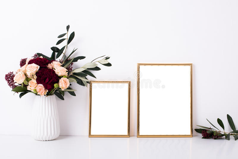 Two golden frames mock-up royalty free stock image