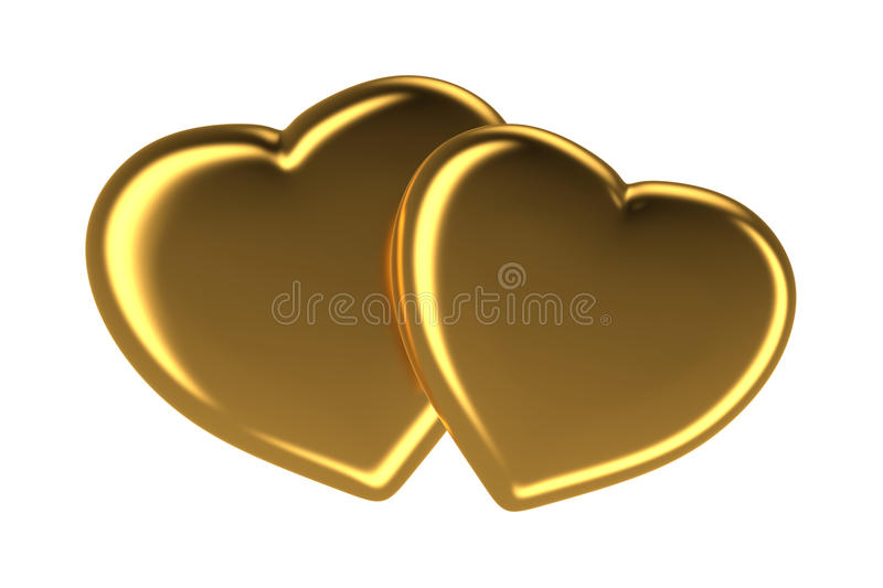 Two golden hearts isolated on white, 3d rendered image stock illustration