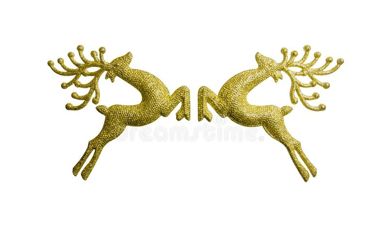 Two golden reindeer isolated on white background, decoration christmas day royalty free stock photos