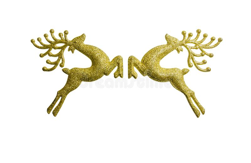 Two golden reindeer isolated on white background, decoration christmas day. stock photography