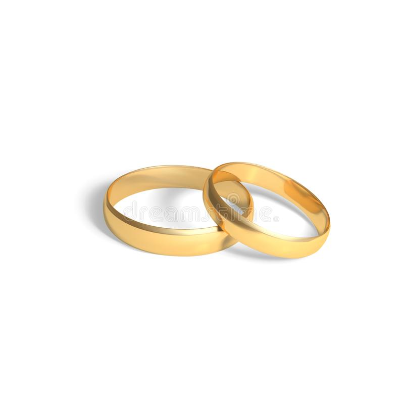 Two golden rings. Gold wedding rings pair. Vector 3D realistic illustration isolated on white background vector illustration