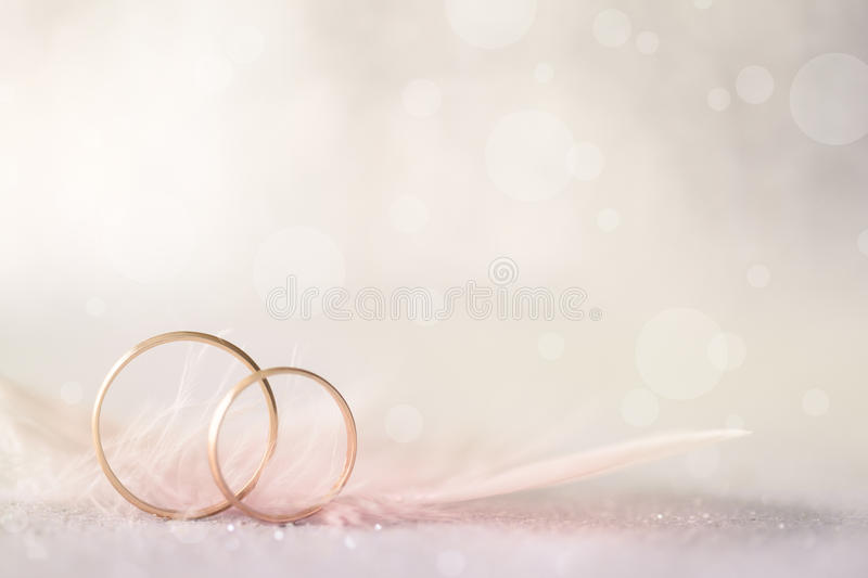 Two Golden Wedding Rings and Feather - light soft background. For marriage stock images