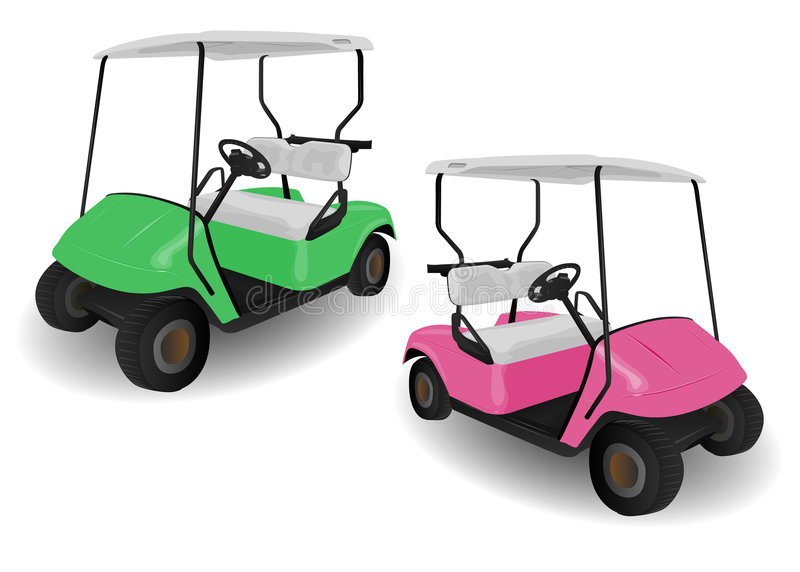 Two Golf Cart Buggies Illustrations. On White vector illustration