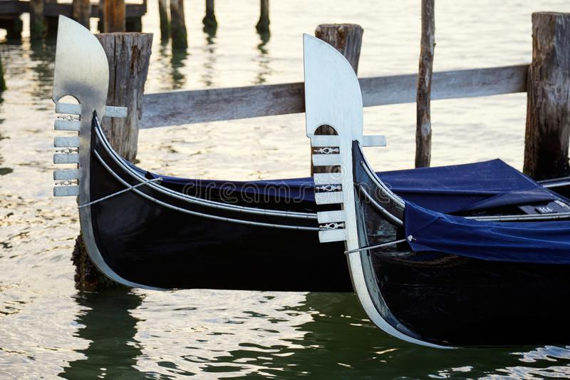 Two gondolas in Grand Canal in Venice, Italy stock photo