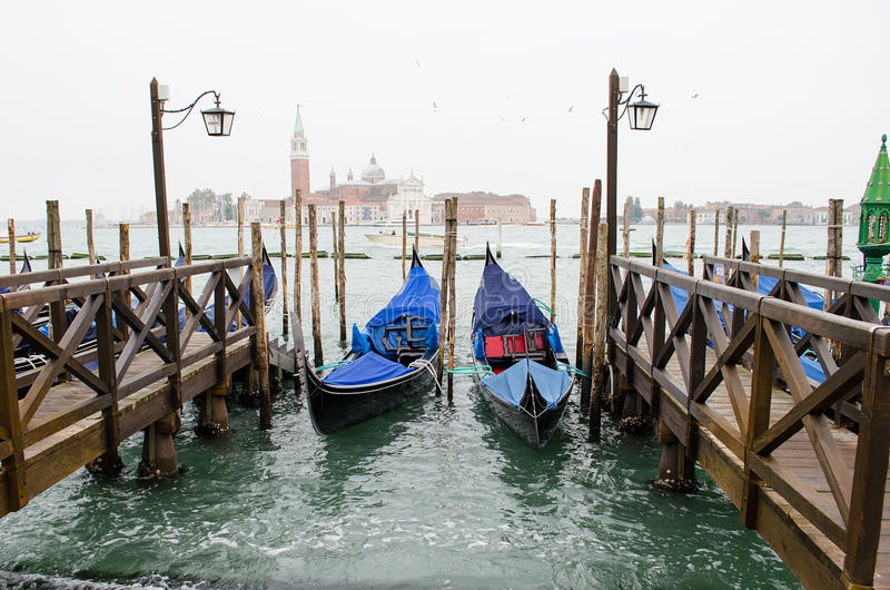 Two gondolas in Venice on the Grand Canal, Italy. royalty free stock image