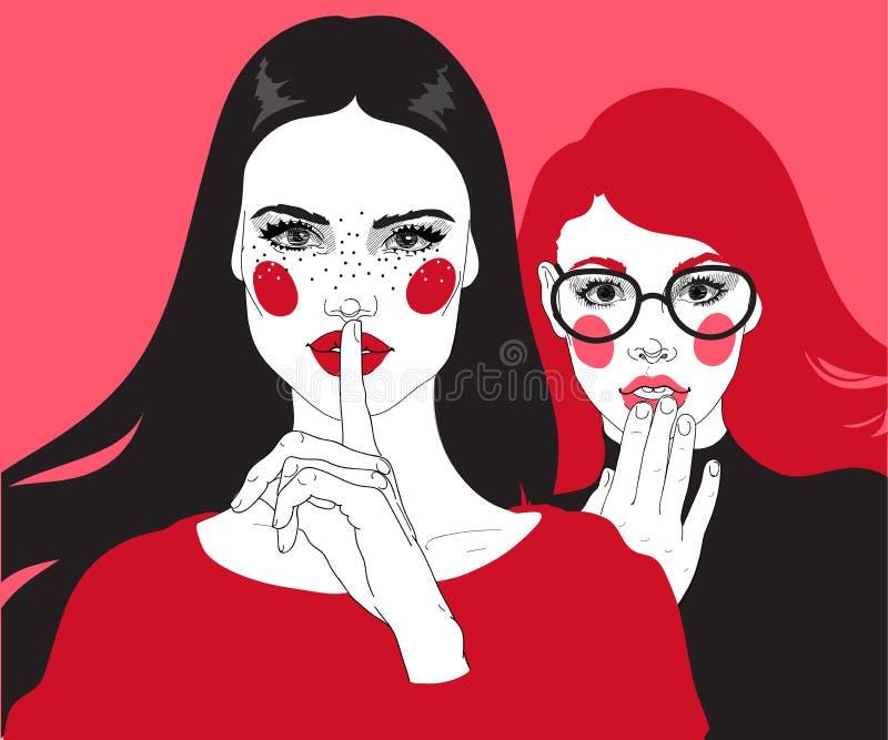 Two gossip girls. Vector two girls: brunette and red, female certificates, gossip stock illustration
