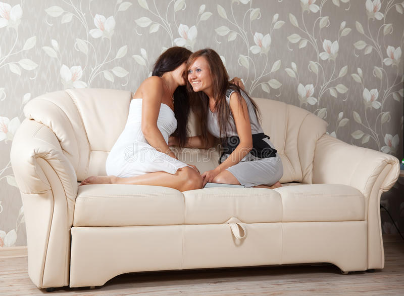 Two gossips women stock photography