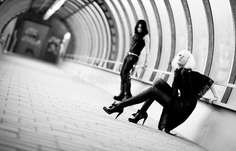 Two Goth Women In Industrial Tunnel Royalty Free Stock Image