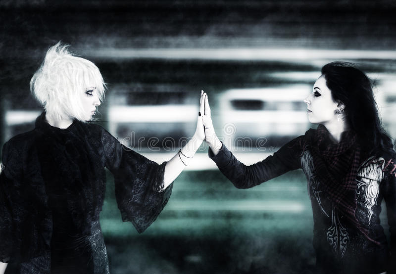 Download Two Goth Women Touching Hands Stock Photo - Image: 11479594