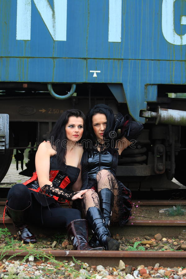 Two gothic girls royalty free stock photo
