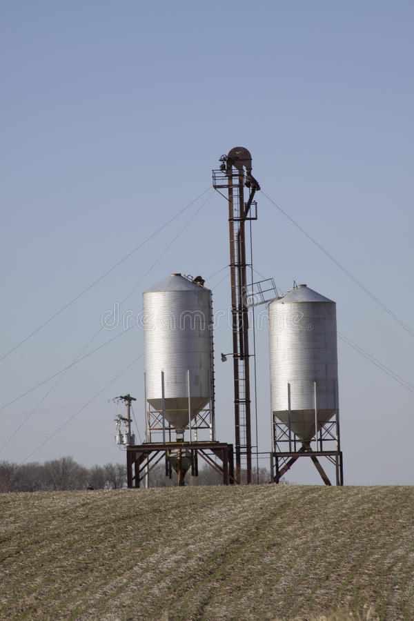 Download Two grain silos. stock photo. Image of silver, metal - 13661310