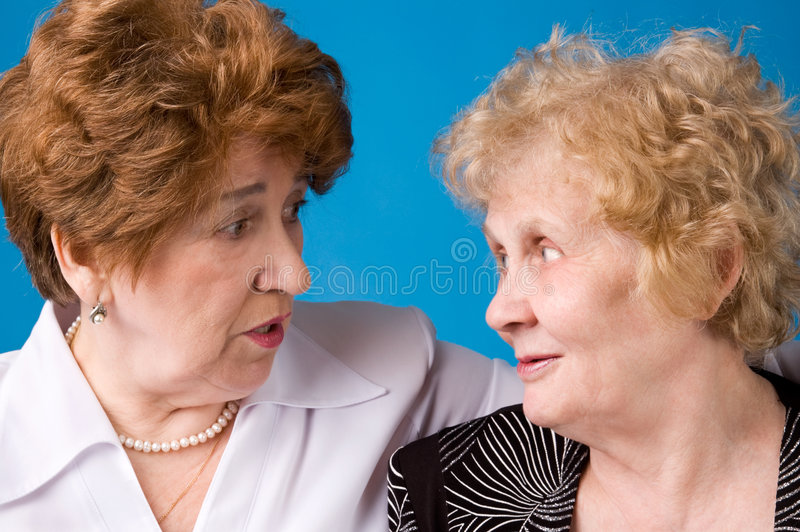 Two grandmothers. stock photo