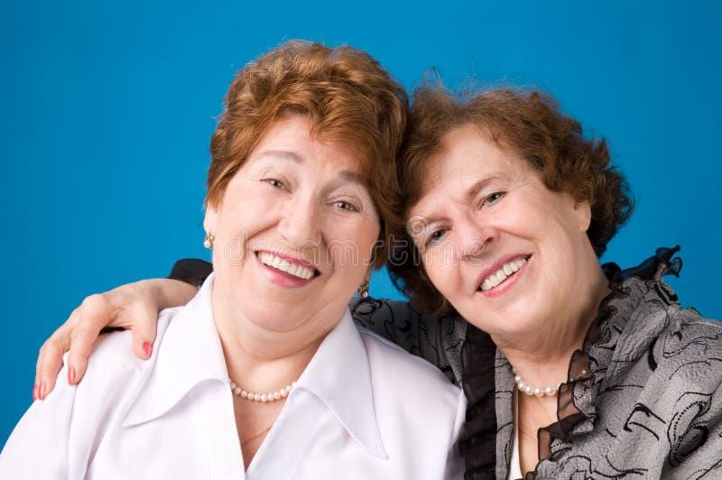 Two grandmothers. stock photos