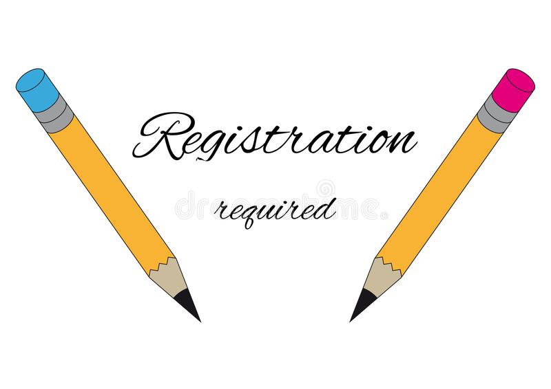 Two graphite pencils and text registration required royalty free illustration