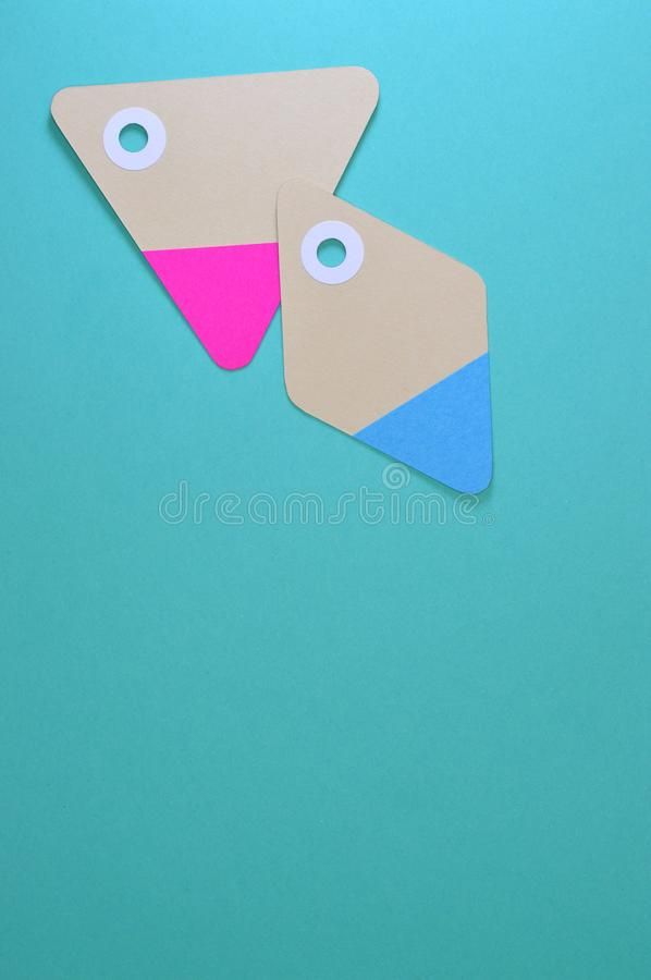 Two Gray, Pink, and Blue Cards royalty free stock photo