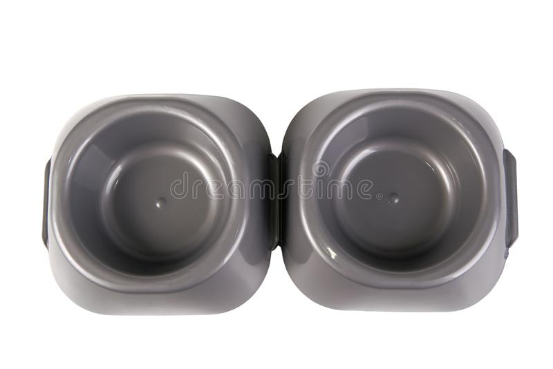 Cat food bowls stock photo