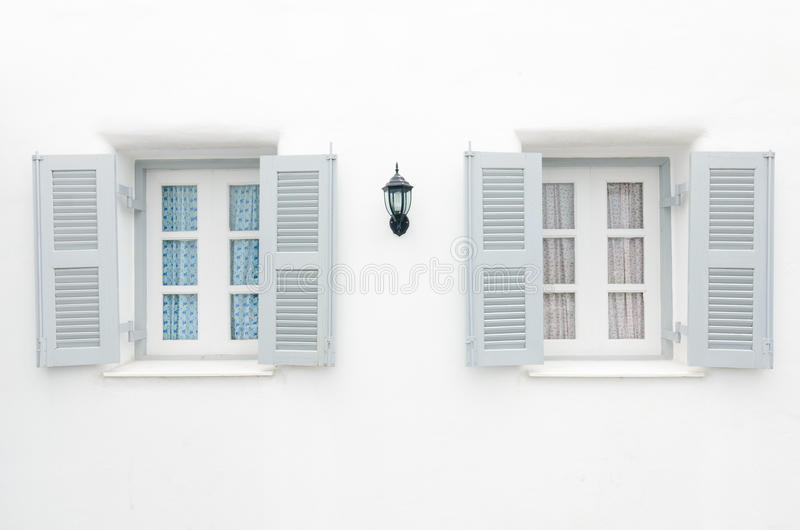 Download Two Gray Windows With Blue Curtain And Pink Curtai Stock Photo - Image: 25578416