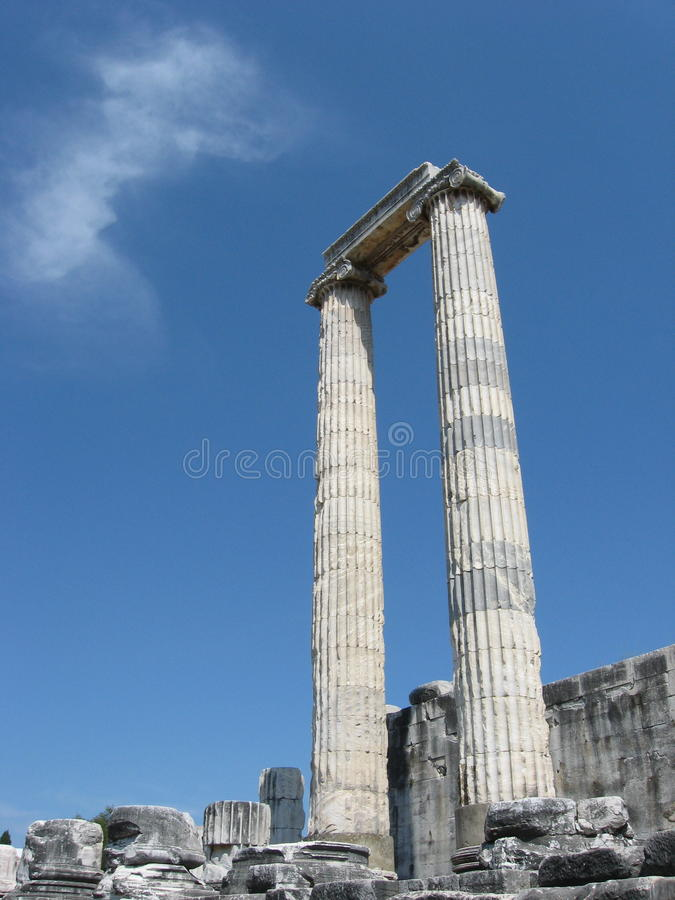 Two greek ionic columns, temple at Didyma, Turkey royalty free stock photos