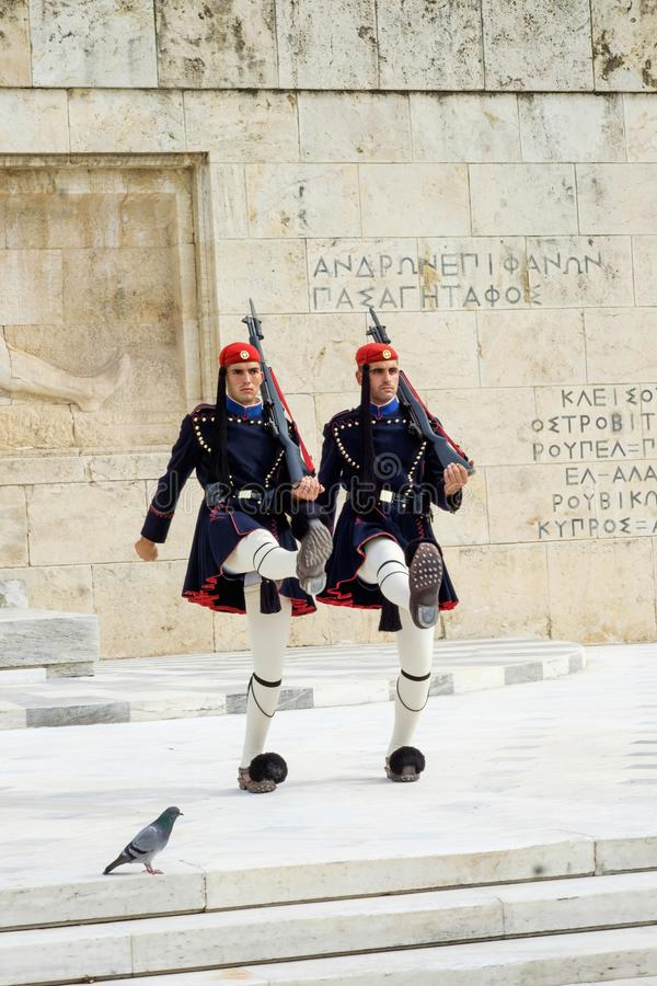 Two Greek Soldiers performing the changing of the guards ceremony stock images