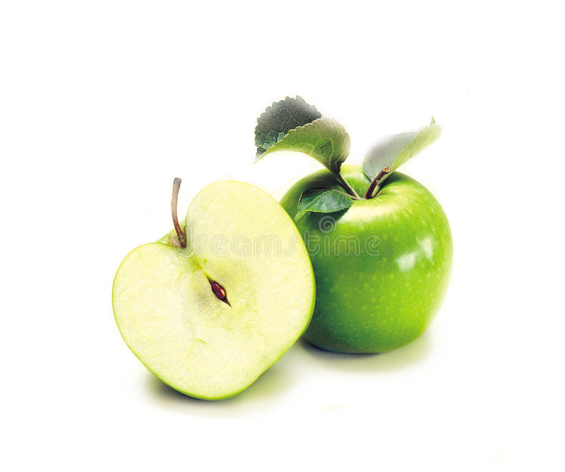 Two green apples. Isolated over white stock photography