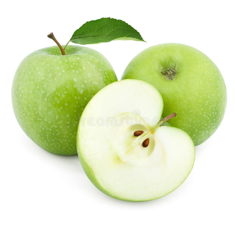 Two green apples and half royalty free stock images