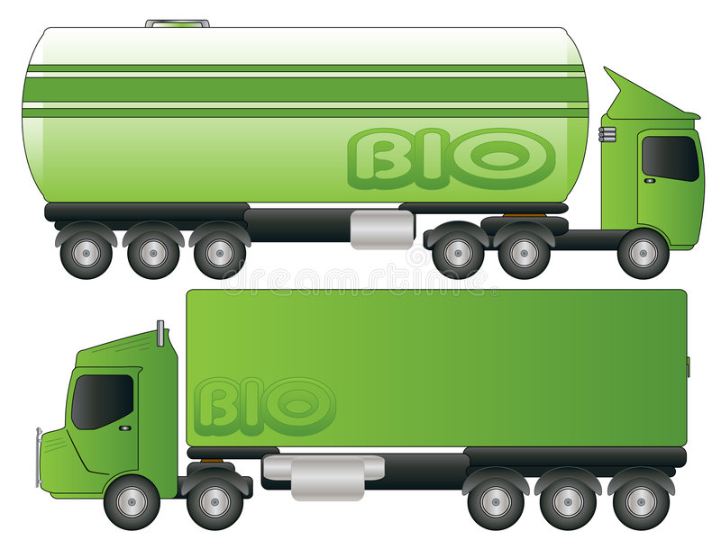 Two Green Biofuel Truck Transport Vector. Drawing stock illustration