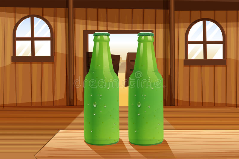 Two green bottles above the table. Illustration of the two green bottles above the table vector illustration