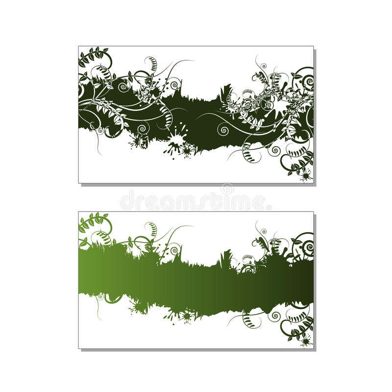Two green floral card with vetch, grass and swirls. Two green abstract floral card with fresh vetch, grass, swirls and ink splashed. Design for ecology stock illustration