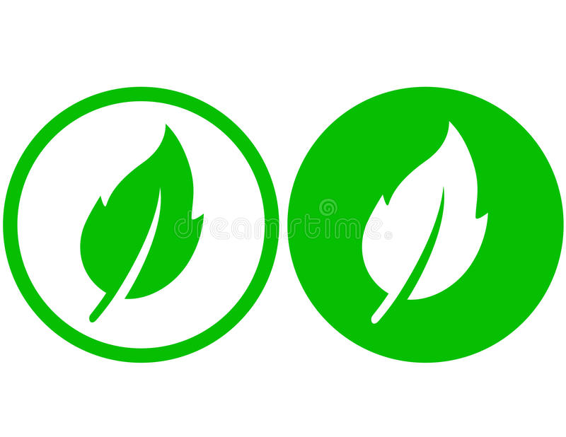 Two green leaf icons stock illustration