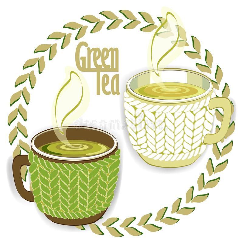 Free Two Green Tea Cups With Knit Sleeve Royalty Free Stock Photos - 105676478