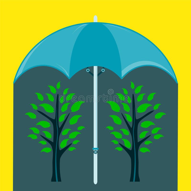 Two green tree under an umbrella. vector illustration