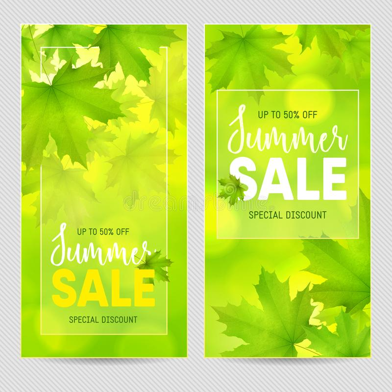 Two green vertical rectangular backgrounds with maple leaves snd tree branches and inscription Summer Sales. Vector summer spring background vector illustration