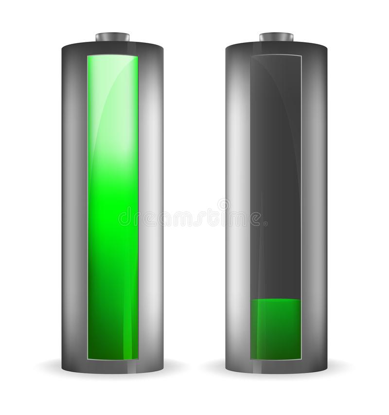 Two grey batteries with green indicator stock illustration