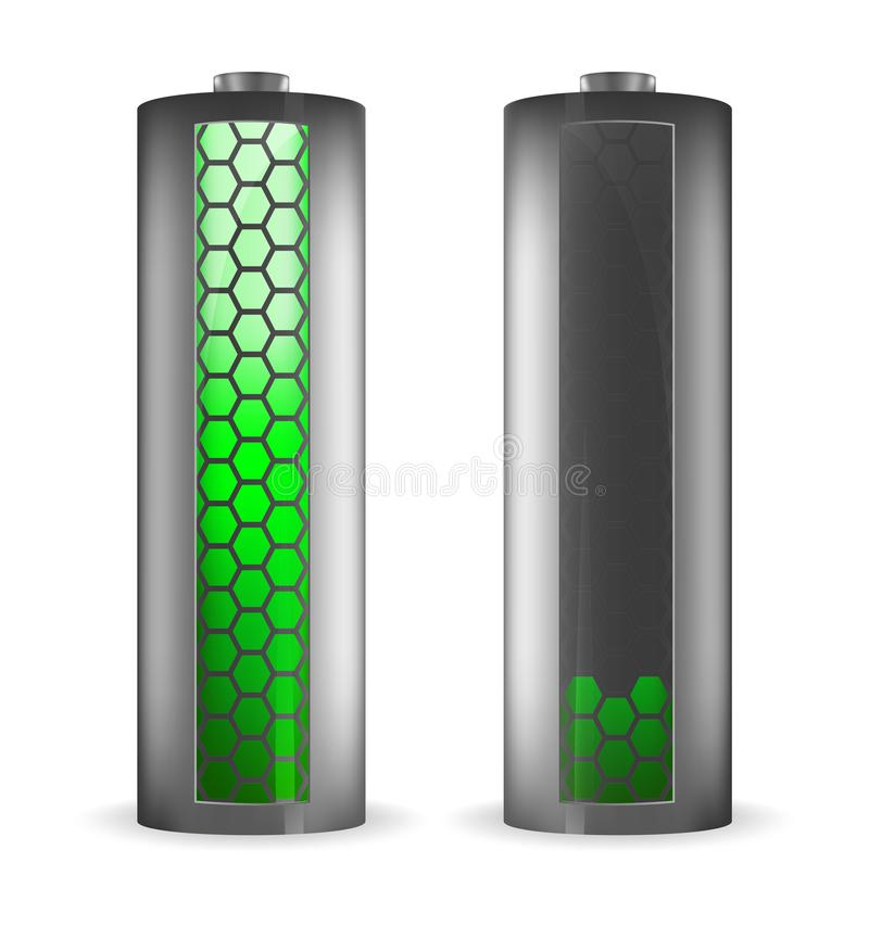 Two grey batteries with hexagons green indicator vector illustration