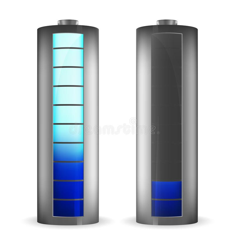 Two grey batteries with rectangle blue indicator royalty free illustration