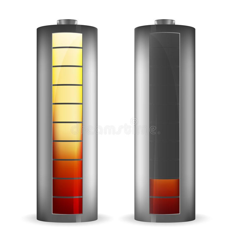 Two grey batteries with rectangle red-yellow indicators stock illustration