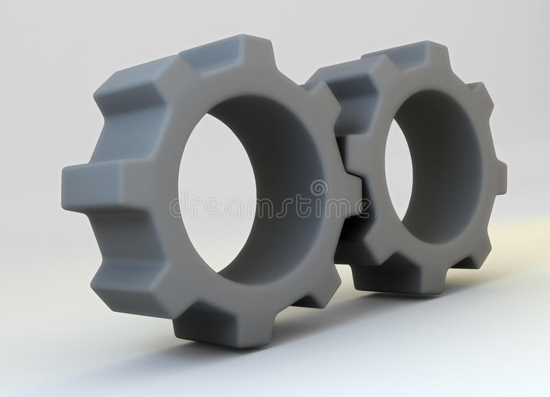 Two grey cogwheels royalty free stock images
