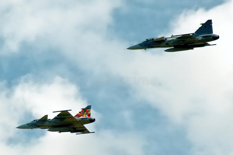 Two Gripen fighters royalty free stock images