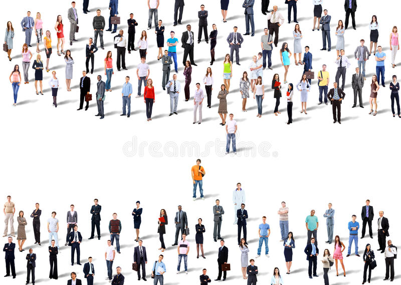 Two groups of business people. stock photography