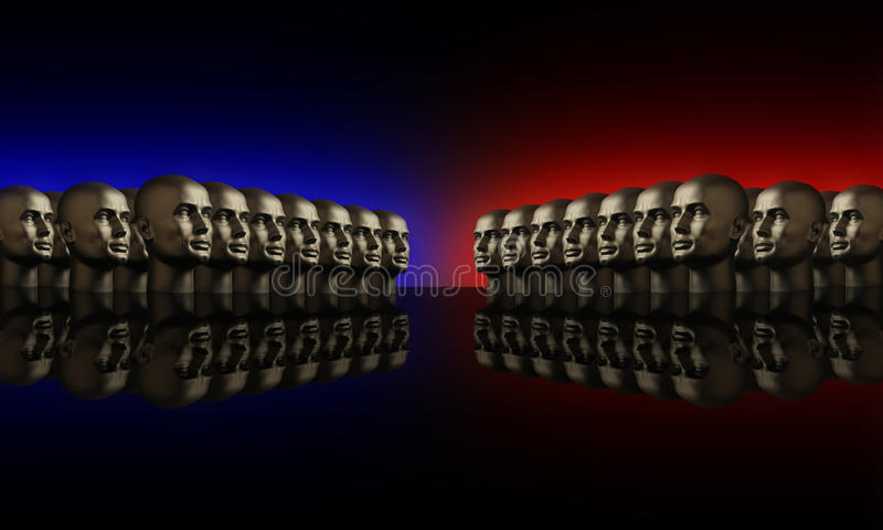 Two groups of mannaquin heads red and blue. Two groups of metallic mannequin heads lined up opposite one another on a reflective black surface royalty free stock images