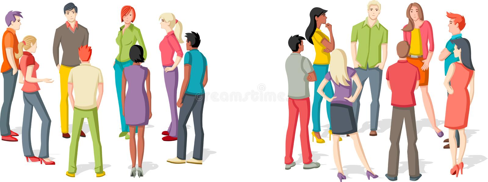 Two groups of people meeting. Reunion stock illustration