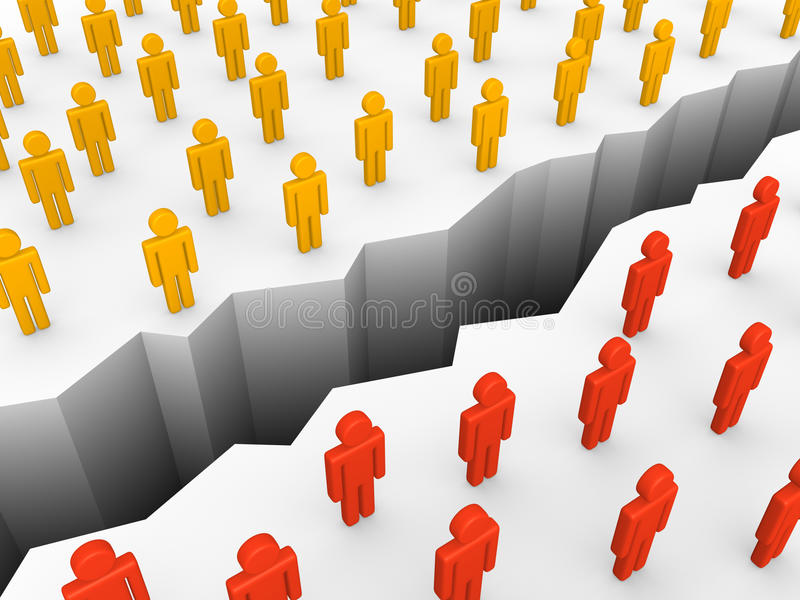 Two groups of people separated by the chasm. vector illustration