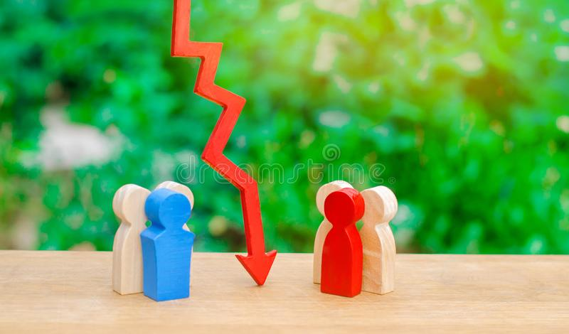 Two groups of people separated by a red arrow. Concept of conflict of interest and confrontation. Deplomic negotiation and showdow. N. Misunderstanding. The way stock photos