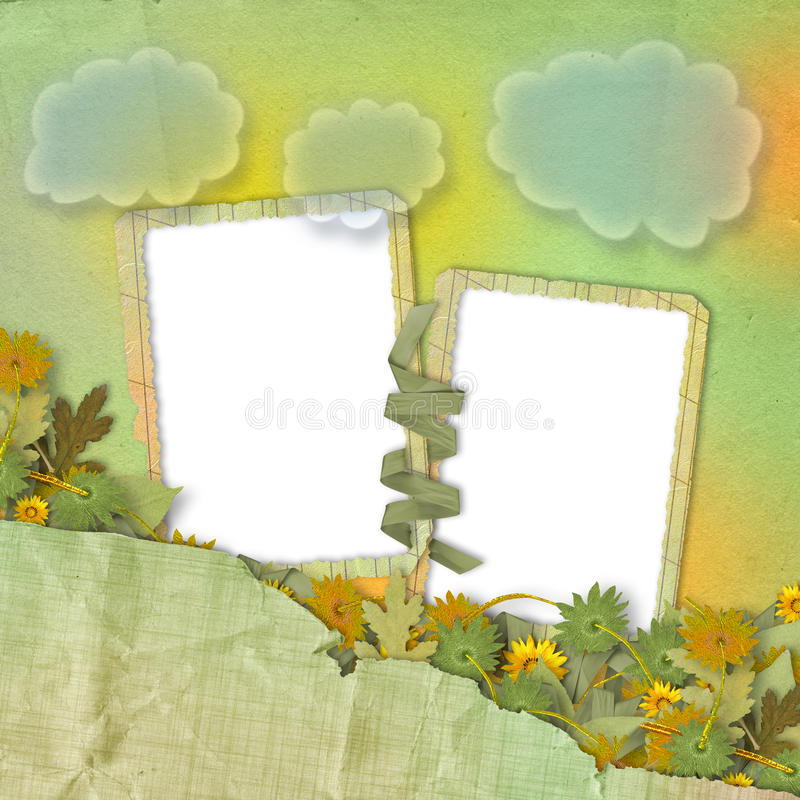 Two grunge frames with bunch stock illustration
